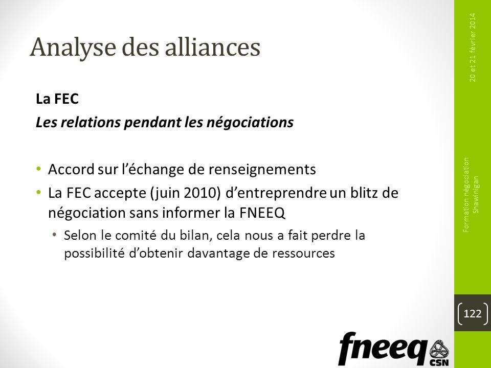 Analyse des alliances La FEC Les relations pendant les négociations Accord sur léchange de renseignements La FEC accepte (juin 2010) dentreprendre un
