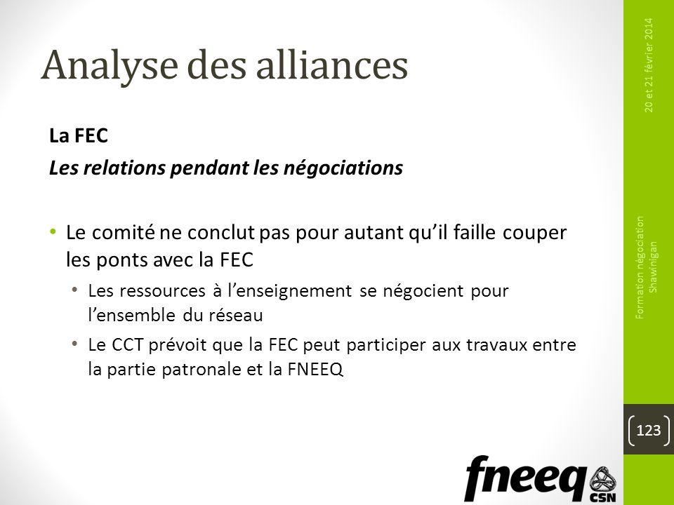 Analyse des alliances La FEC Les relations pendant les négociations Le comité ne conclut pas pour autant quil faille couper les ponts avec la FEC Les