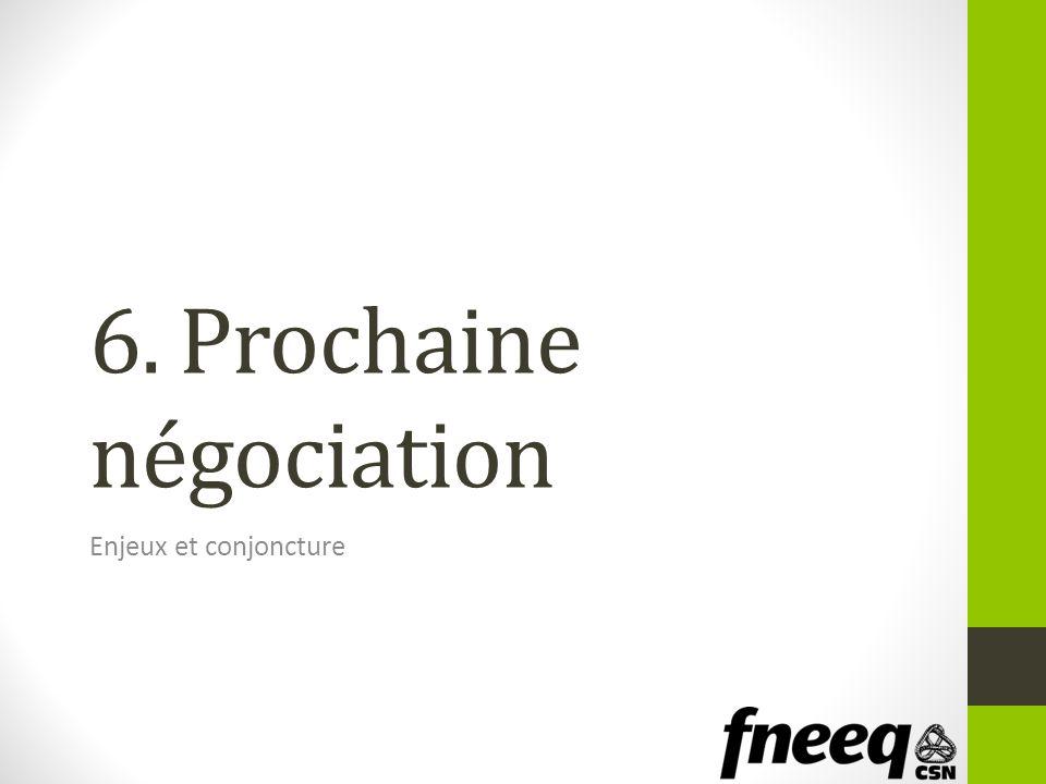 6. Prochaine négociation Enjeux et conjoncture