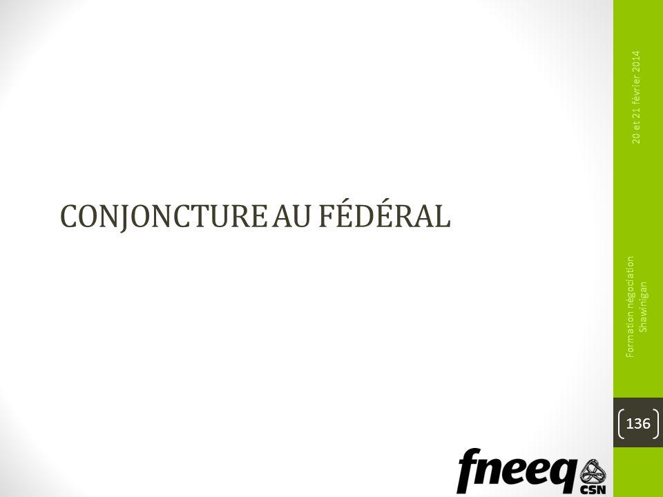 CONJONCTURE AU FÉDÉRAL 20 et 21 février 2014 Formation négociation Shawinigan 136