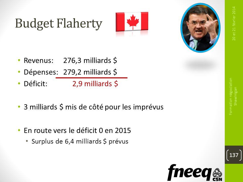 Budget Flaherty Revenus: 276,3 milliards $ Dépenses: 279,2 milliards $ Déficit: 2,9 milliards $ 3 milliards $ mis de côté pour les imprévus En route v
