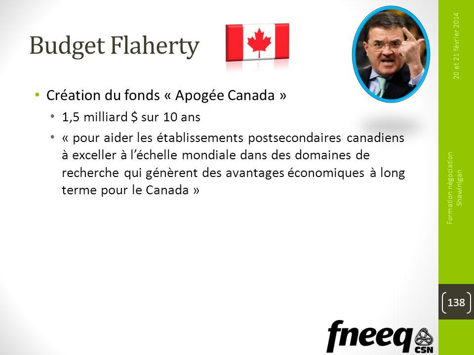 Budget Flaherty Création du fonds « Apogée Canada » 1,5 milliard $ sur 10 ans « pour aider les établissements postsecondaires canadiens à exceller à l