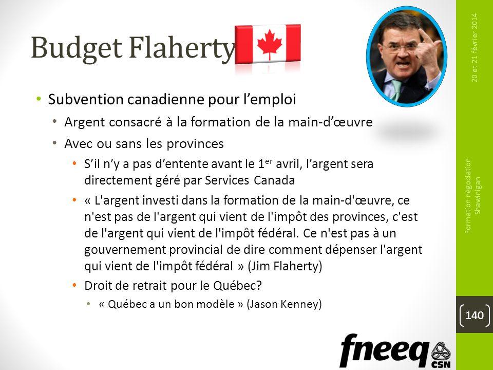 Budget Flaherty Subvention canadienne pour lemploi Argent consacré à la formation de la main-dœuvre Avec ou sans les provinces Sil ny a pas dentente a