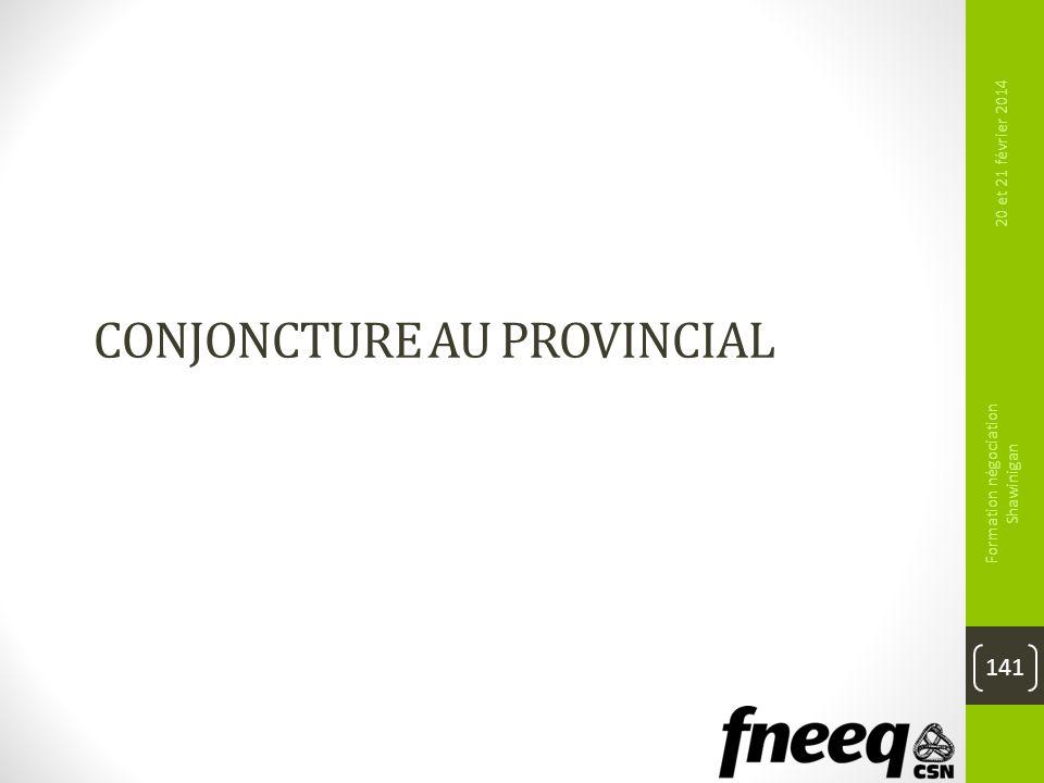CONJONCTURE AU PROVINCIAL 20 et 21 février 2014 Formation négociation Shawinigan 141