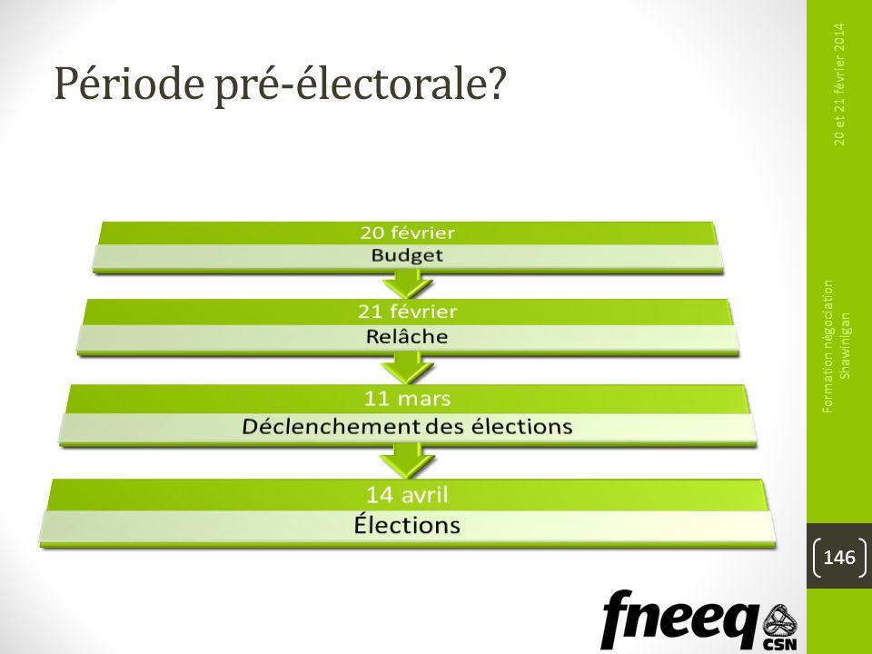 Période pré-électorale? 20 et 21 février 2014 Formation négociation Shawinigan 146