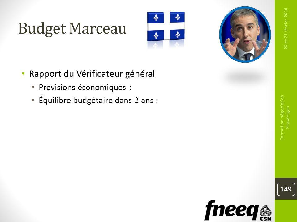 Budget Marceau Rapport du Vérificateur général Prévisions économiques : Raisonnables Équilibre budgétaire dans 2 ans : Ambitieux 20 et 21 février 2014