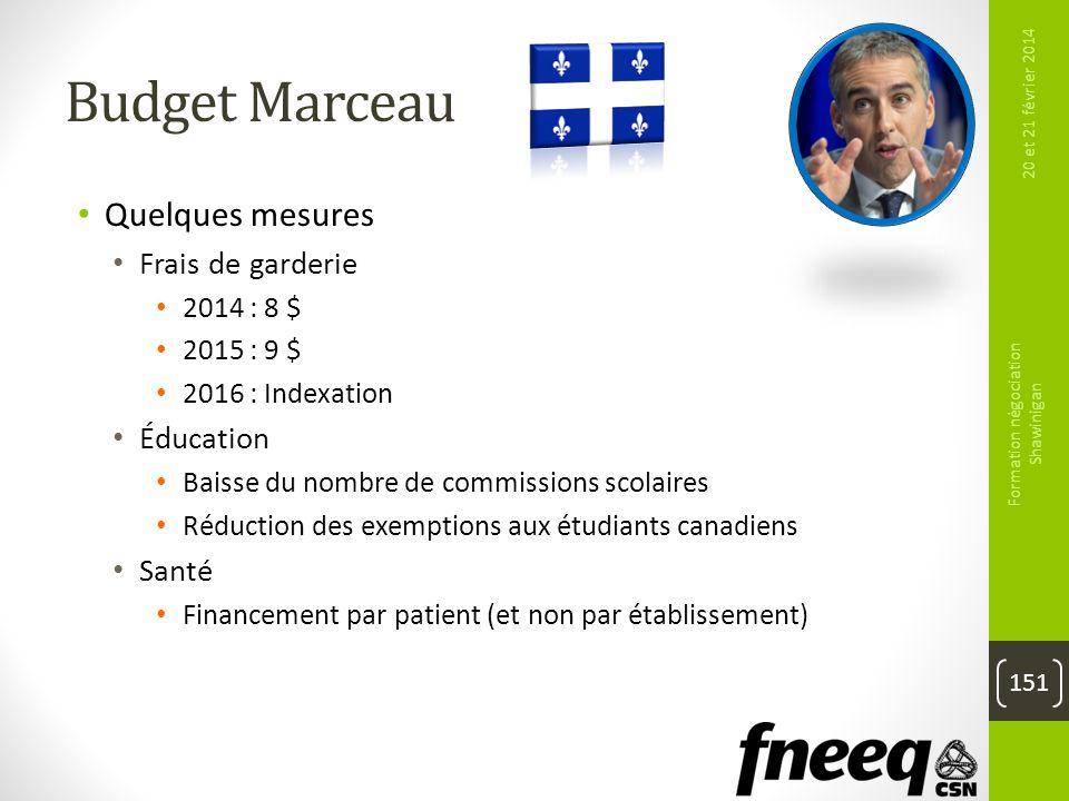 Budget Marceau Quelques mesures Frais de garderie 2014 : 8 $ 2015 : 9 $ 2016 : Indexation Éducation Baisse du nombre de commissions scolaires Réductio