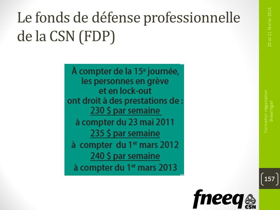 20 et 21 février 2014 Formation négociation Shawinigan 157 Le fonds de défense professionnelle de la CSN (FDP)