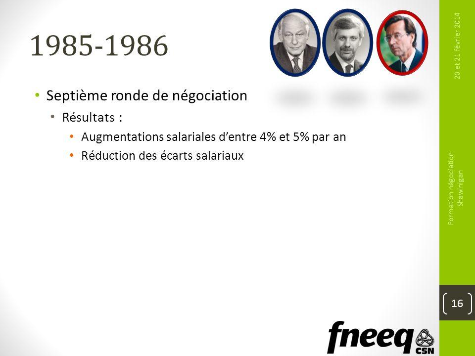 1985-1986 Septième ronde de négociation Résultats : Augmentations salariales dentre 4% et 5% par an Réduction des écarts salariaux 20 et 21 février 20