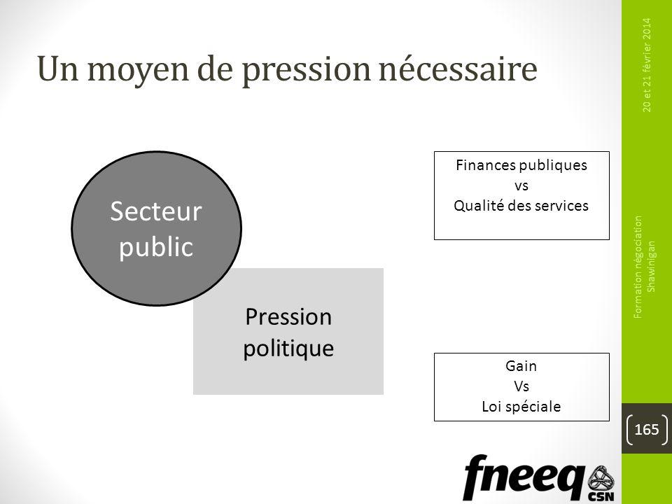 Pression politique 20 et 21 février 2014 Formation négociation Shawinigan 165 Un moyen de pression nécessaire Secteur public Finances publiques vs Qua