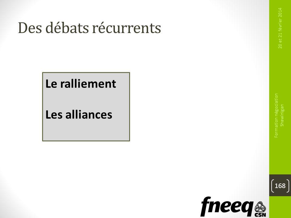 Des débats récurrents 20 et 21 février 2014 Formation négociation Shawinigan 168 Le ralliement Les alliances
