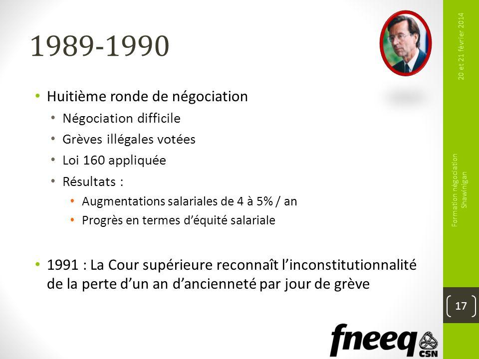 1989-1990 Huitième ronde de négociation Négociation difficile Grèves illégales votées Loi 160 appliquée Résultats : Augmentations salariales de 4 à 5%