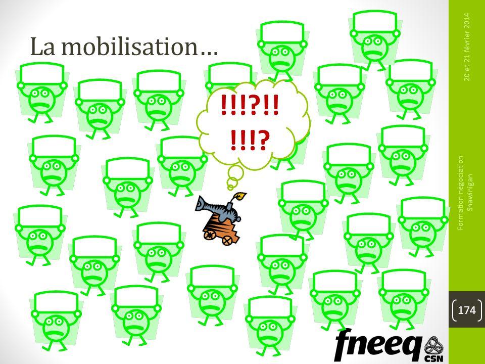 La mobilisation… 20 et 21 février 2014 Formation négociation Shawinigan 174 !!!?!! !!!?