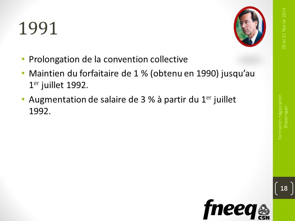 1991 Prolongation de la convention collective Maintien du forfaitaire de 1 % (obtenu en 1990) jusquau 1 er juillet 1992. Augmentation de salaire de 3