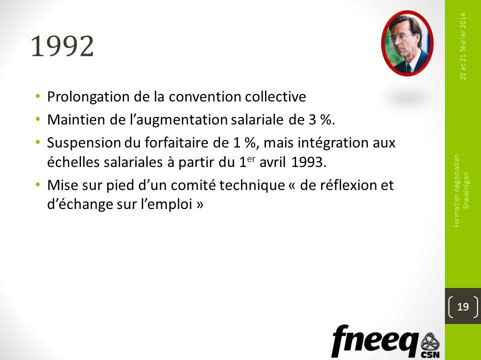 1992 Prolongation de la convention collective Maintien de laugmentation salariale de 3 %. Suspension du forfaitaire de 1 %, mais intégration aux échel