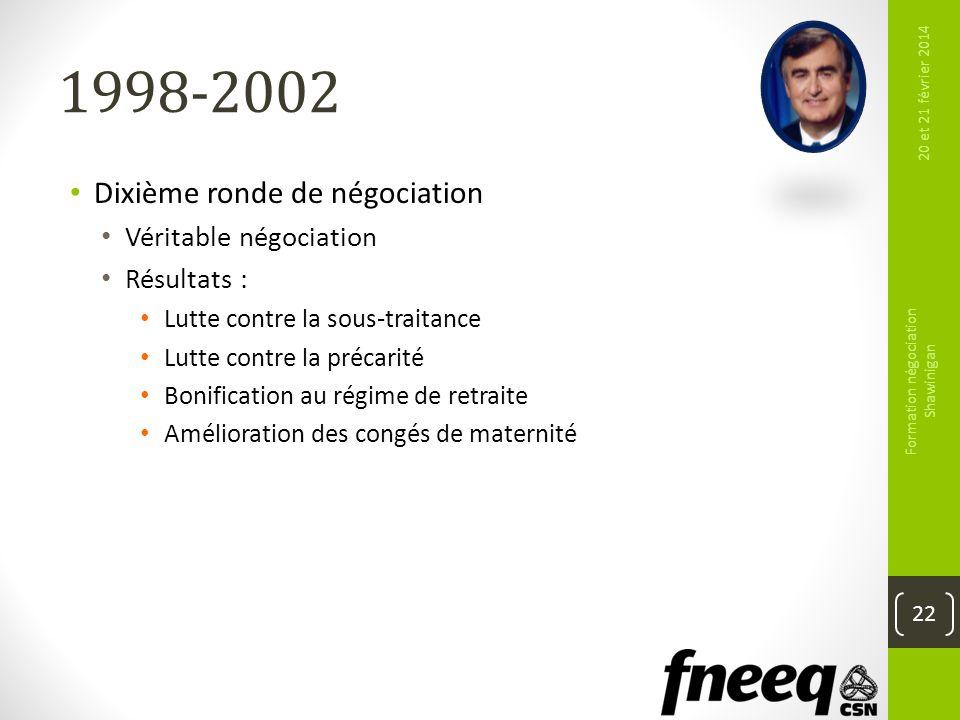 1998-2002 Dixième ronde de négociation Véritable négociation Résultats : Lutte contre la sous-traitance Lutte contre la précarité Bonification au régi