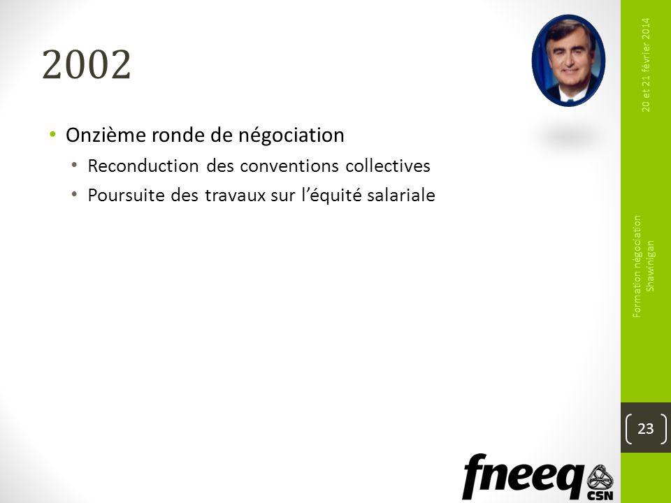 2002 Onzième ronde de négociation Reconduction des conventions collectives Poursuite des travaux sur léquité salariale 20 et 21 février 2014 Formation