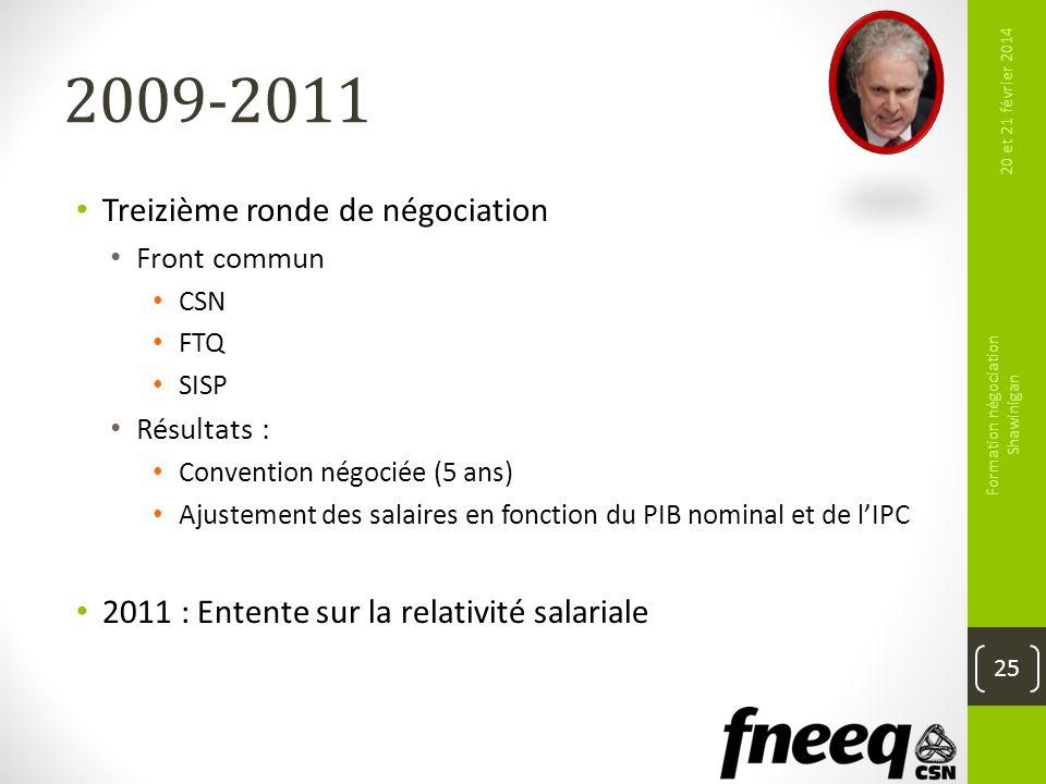2009-2011 Treizième ronde de négociation Front commun CSN FTQ SISP Résultats : Convention négociée (5 ans) Ajustement des salaires en fonction du PIB