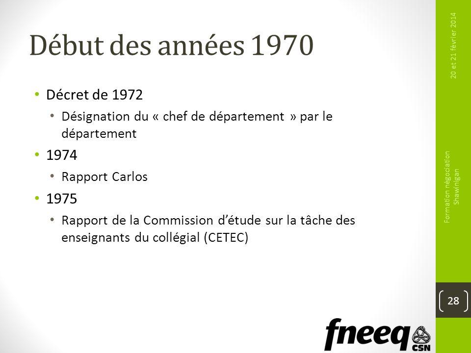 Début des années 1970 Décret de 1972 Désignation du « chef de département » par le département 1974 Rapport Carlos 1975 Rapport de la Commission détud