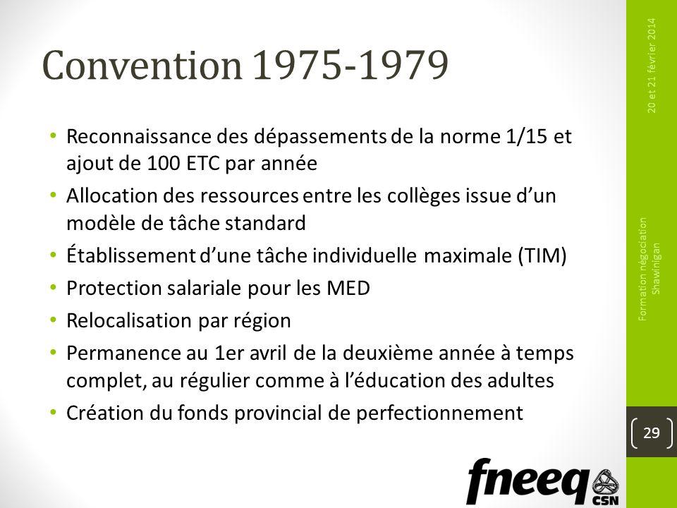 Convention 1975-1979 Reconnaissance des dépassements de la norme 1/15 et ajout de 100 ETC par année Allocation des ressources entre les collèges issue