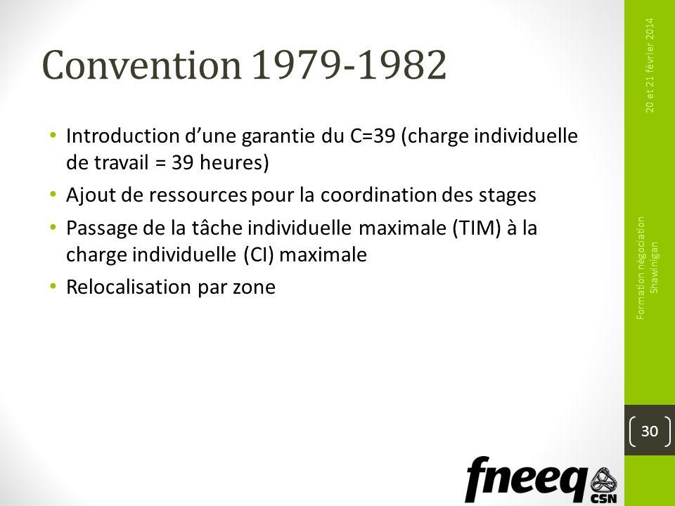 Convention 1979-1982 Introduction dune garantie du C=39 (charge individuelle de travail = 39 heures) Ajout de ressources pour la coordination des stag