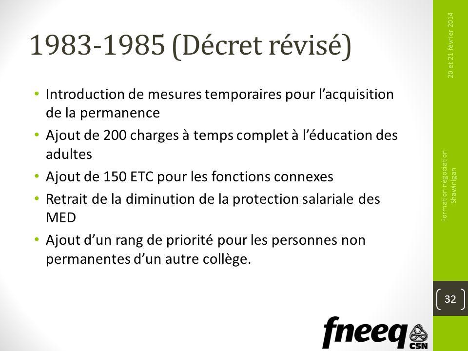 1983-1985 (Décret révisé) Introduction de mesures temporaires pour lacquisition de la permanence Ajout de 200 charges à temps complet à léducation des