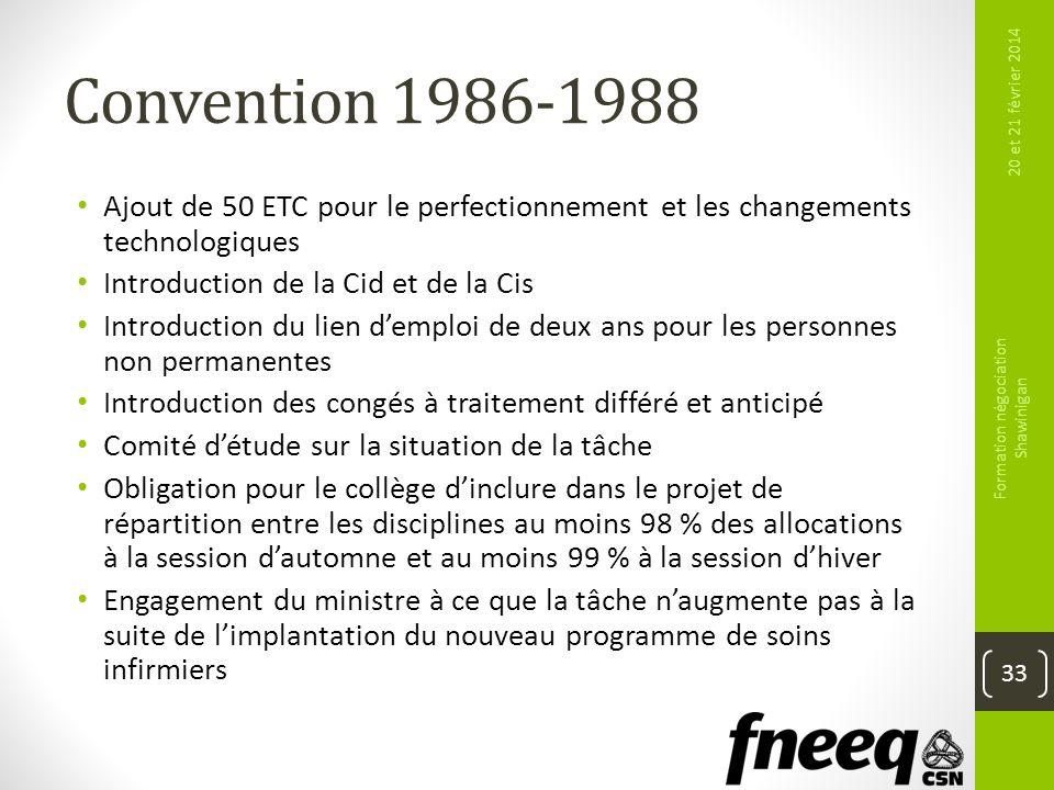 Convention 1986-1988 Ajout de 50 ETC pour le perfectionnement et les changements technologiques Introduction de la Cid et de la Cis Introduction du li