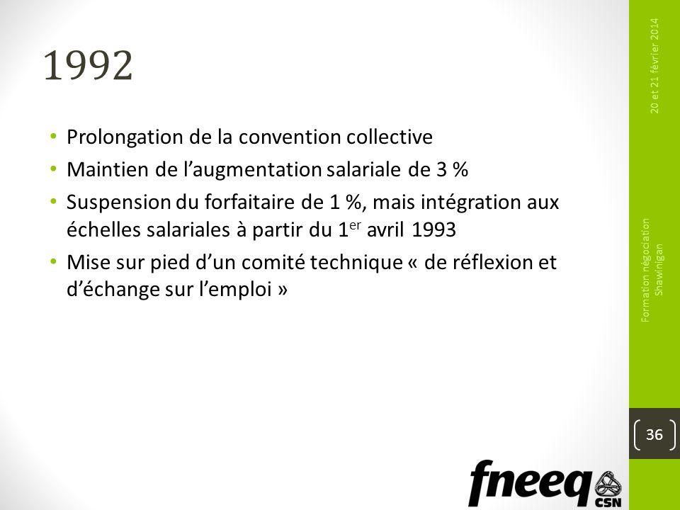1992 Prolongation de la convention collective Maintien de laugmentation salariale de 3 % Suspension du forfaitaire de 1 %, mais intégration aux échell