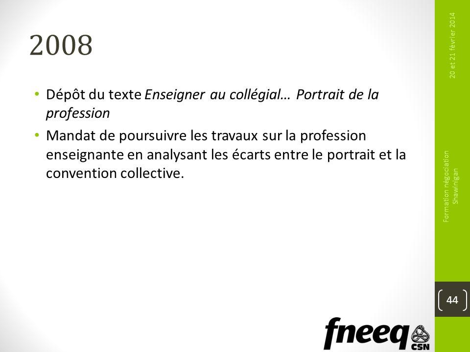 2008 Dépôt du texte Enseigner au collégial… Portrait de la profession Mandat de poursuivre les travaux sur la profession enseignante en analysant les