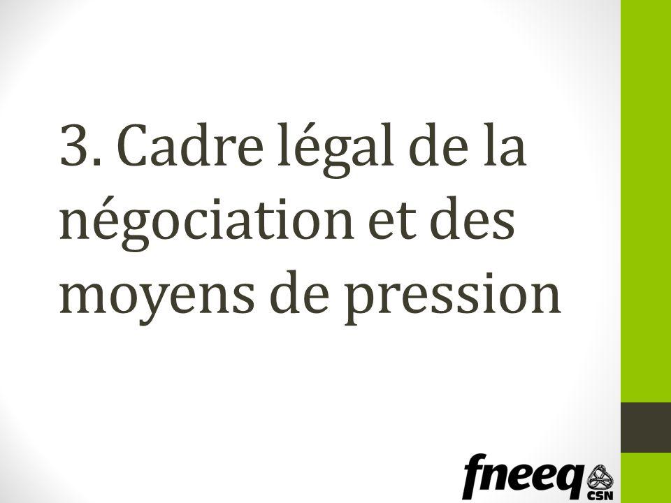 3. Cadre légal de la négociation et des moyens de pression