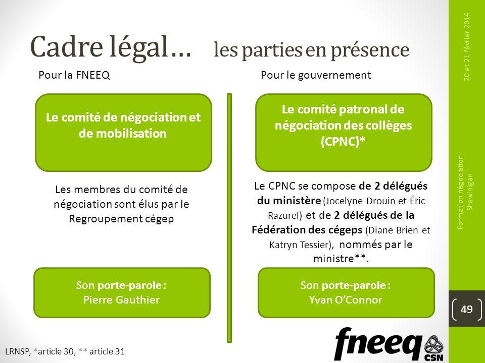 Cadre légal… les parties en présence 20 et 21 février 2014 Formation négociation Shawinigan 49 Pour la FNEEQPour le gouvernement Le comité de négociat
