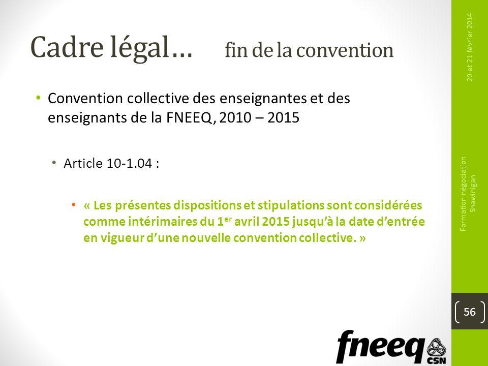 Cadre légal… fin de la convention Convention collective des enseignantes et des enseignants de la FNEEQ, 2010 – 2015 Article 10-1.04 : « Les présentes