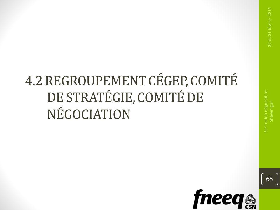 4.2 REGROUPEMENT CÉGEP, COMITÉ DE STRATÉGIE, COMITÉ DE NÉGOCIATION 63 20 et 21 février 2014 Formation négociation Shawinigan
