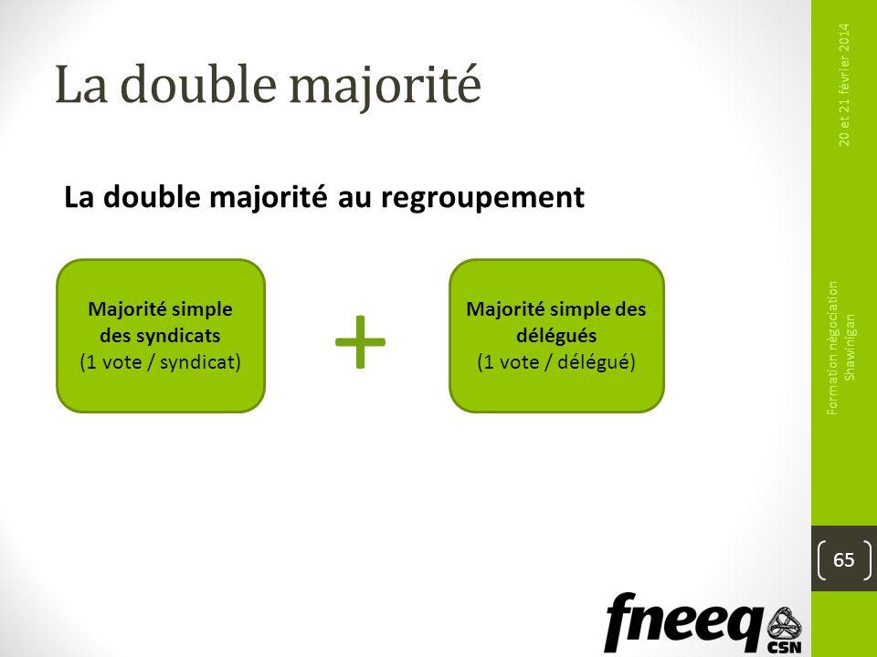 La double majorité 20 et 21 février 2014 Formation négociation Shawinigan 65 La double majorité au regroupement Majorité simple des syndicats (1 vote