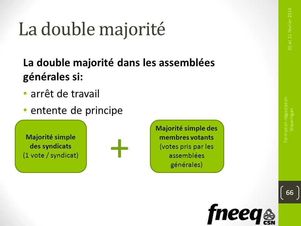 La double majorité 20 et 21 février 2014 Formation négociation Shawinigan 66 La double majorité dans les assemblées générales si: arrêt de travail ent