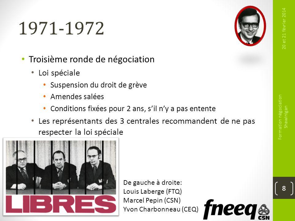1971-1972 Troisième ronde de négociation Loi spéciale Suspension du droit de grève Amendes salées Conditions fixées pour 2 ans, sil ny a pas entente L