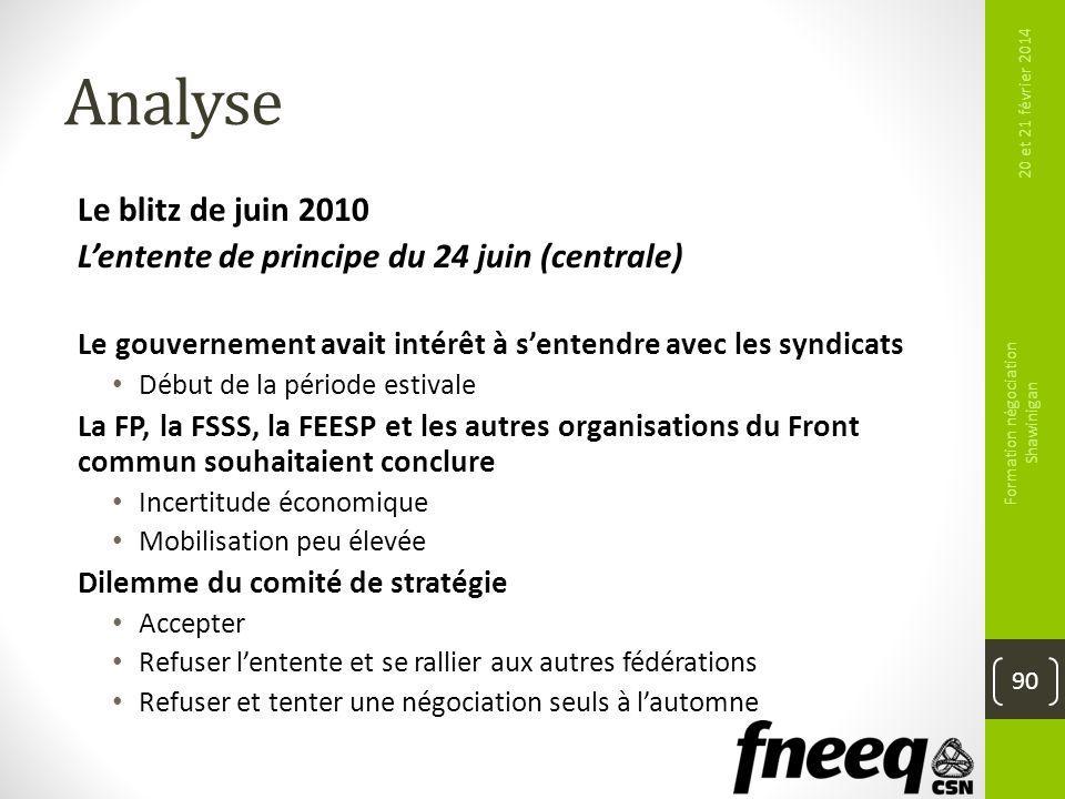 Analyse Le blitz de juin 2010 Lentente de principe du 24 juin (centrale) Le gouvernement avait intérêt à sentendre avec les syndicats Début de la péri