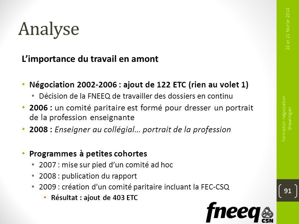 Analyse Limportance du travail en amont Négociation 2002-2006 : ajout de 122 ETC (rien au volet 1) Décision de la FNEEQ de travailler des dossiers en