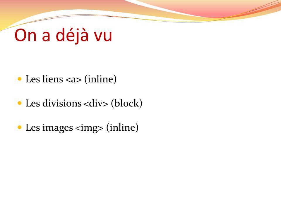 On a déjà vu Les liens (inline) Les divisions (block) Les images (inline)