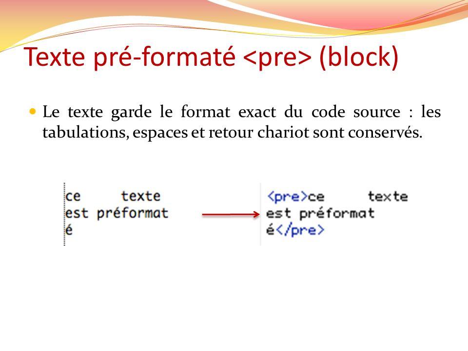 Texte pré-formaté (block) Le texte garde le format exact du code source : les tabulations, espaces et retour chariot sont conservés.