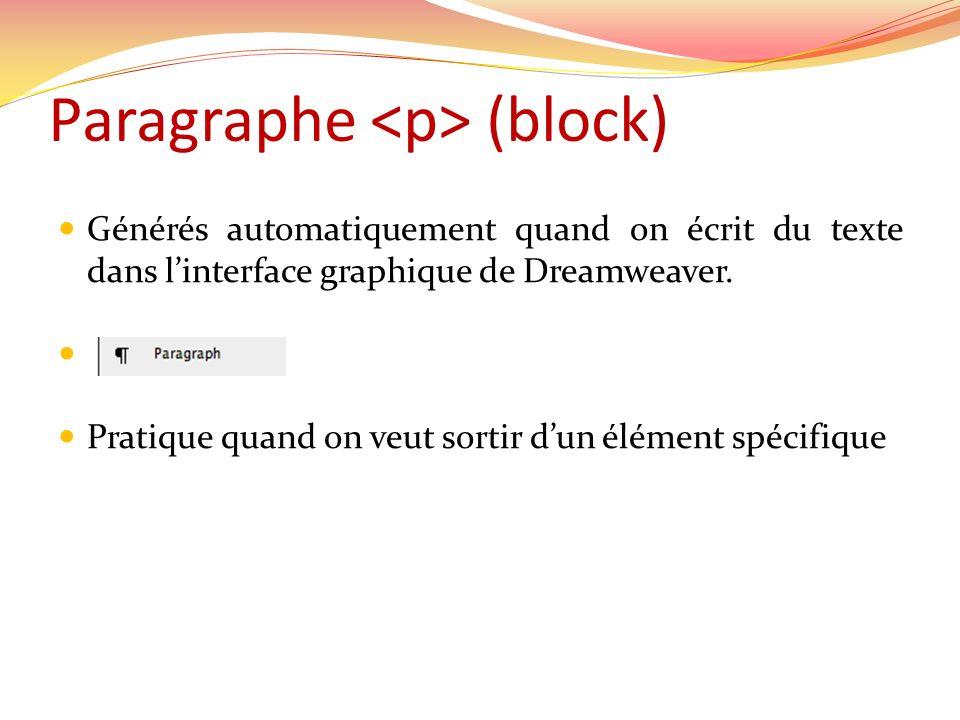 Paragraphe (block) Générés automatiquement quand on écrit du texte dans linterface graphique de Dreamweaver. Pratique quand on veut sortir dun élément