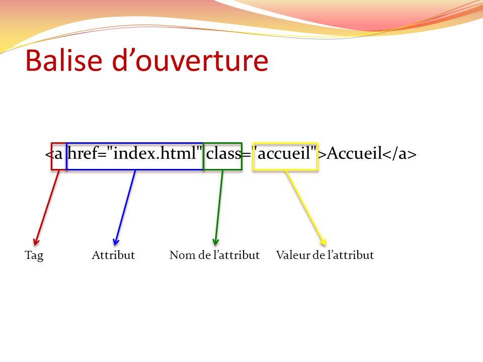 Balise douverture Accueil TagAttributNom de lattributValeur de lattribut