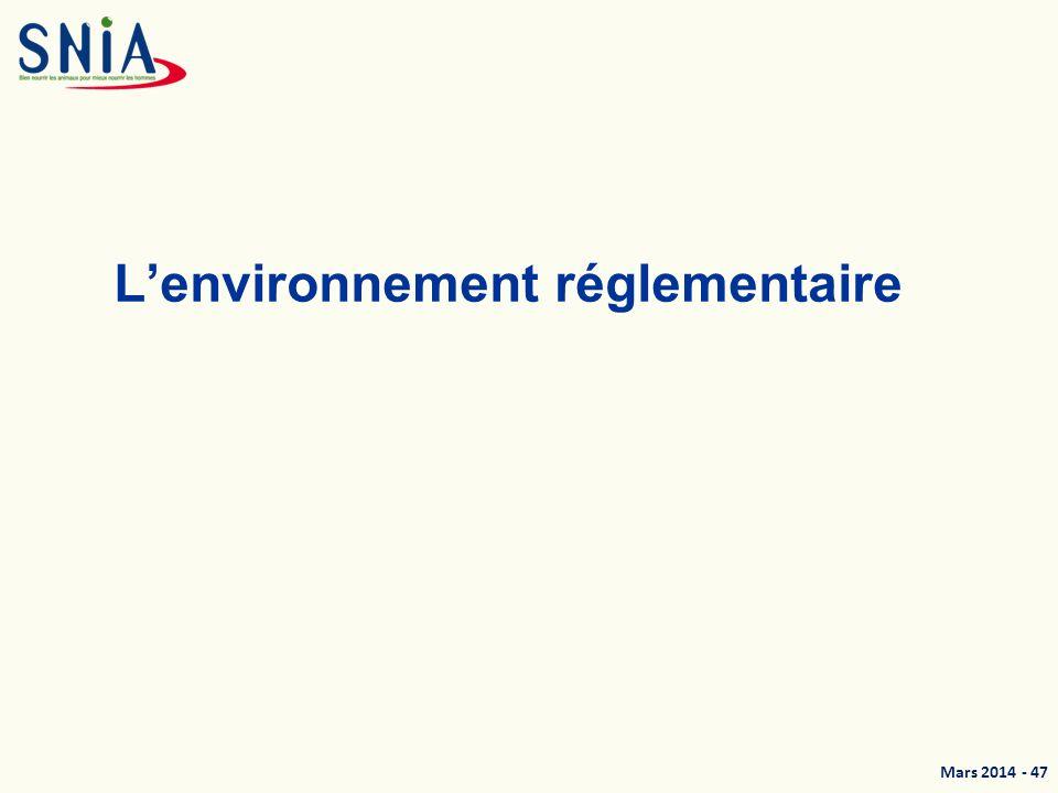 Mars 2014 - 48 Une réglementation UE harmonisée Hygiène et sécurité –178/2002 (Prescriptions générales) –183/2005 (Hygiène en alimentation animale) Textes spécifiques –Substances indésirables (Directive) –Co-produits animaux (En cours de réforme) –Aliments médicamenteux Commercialisation et étiquetage –767/2009 Directives Règlements