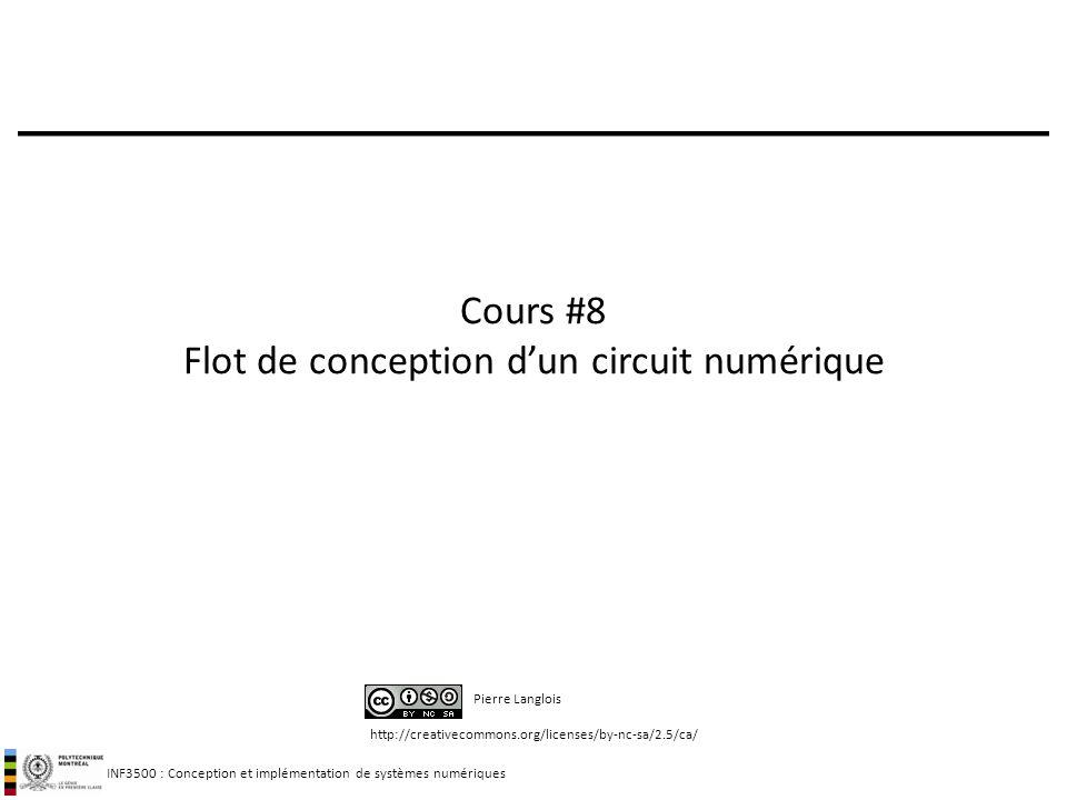 INF3500 : Conception et implémentation de systèmes numériques http://creativecommons.org/licenses/by-nc-sa/2.5/ca/ Pierre Langlois Cours #8 Flot de co