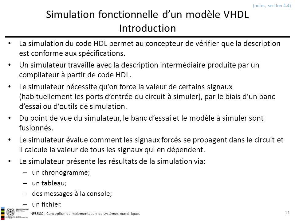 INF3500 : Conception et implémentation de systèmes numériques Simulation fonctionnelle dun modèle VHDL Introduction La simulation du code HDL permet a