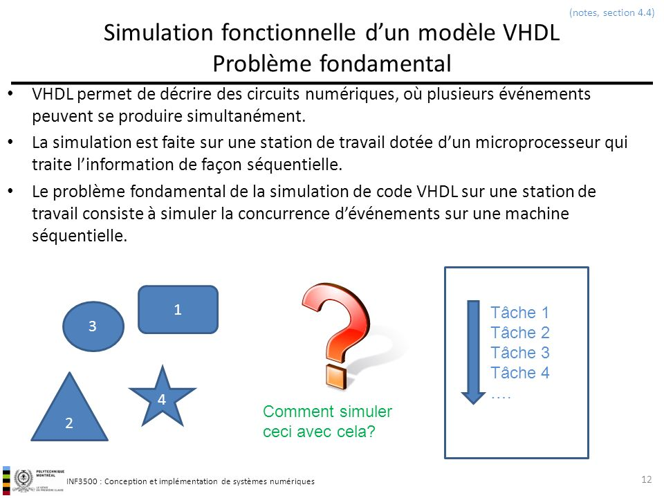 INF3500 : Conception et implémentation de systèmes numériques Simulation dun modèle avec son banc dessai Exemple 13 library ieee; use ieee.std_logic_1164.all; entity demodelaidelta is port( A : in STD_LOGIC; B : in STD_LOGIC; F : out STD_LOGIC ); end demodelaidelta; architecture flot of demodelaidelta is signal S1, S2, S3, S4 : STD_LOGIC; begin S3 <= not(B and S1); S4 <= not(S2 and A); F <= not(S4 and S3); S1 <= not(A); S2 <= not(B); end flot; library ieee; use ieee.std_logic_1164.all; entity demodelaidelta_tb is end demodelaidelta_tb; architecture TB_ARCHITECTURE of demodelaidelta_tb is signal A, B, F : STD_LOGIC; begin UUT : entity demodelaidelta(flot) port map (A, B, F); A <= 0 after 0 ns; B <= 1 after 0 ns, 0 after 10 ns; end TB_ARCHITECTURE; À t = 10 ns, un changement sur lentrée B entraîne des changements simultanés sur les signaux S2 et S3, puis sur la sortie F.