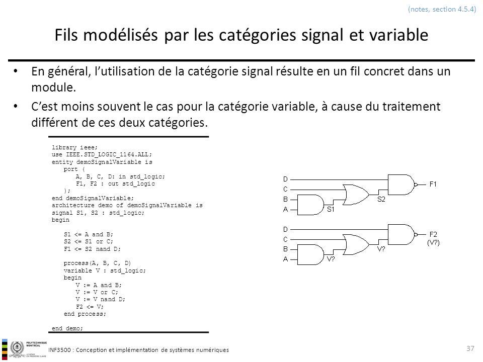 INF3500 : Conception et implémentation de systèmes numériques Fils modélisés par les catégories signal et variable En général, lutilisation de la caté