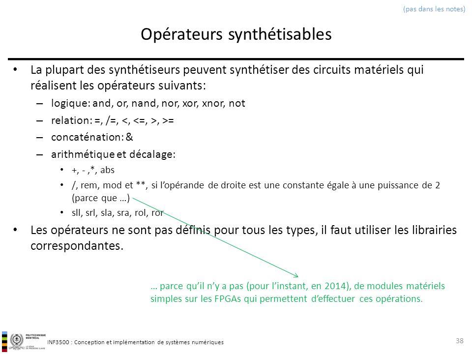 INF3500 : Conception et implémentation de systèmes numériques Opérateurs synthétisables La plupart des synthétiseurs peuvent synthétiser des circuits