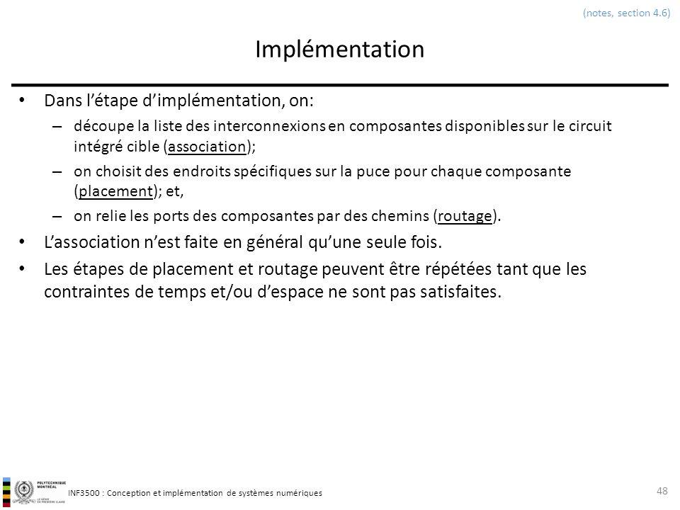 INF3500 : Conception et implémentation de systèmes numériques Implémentation Dans létape dimplémentation, on: – découpe la liste des interconnexions e