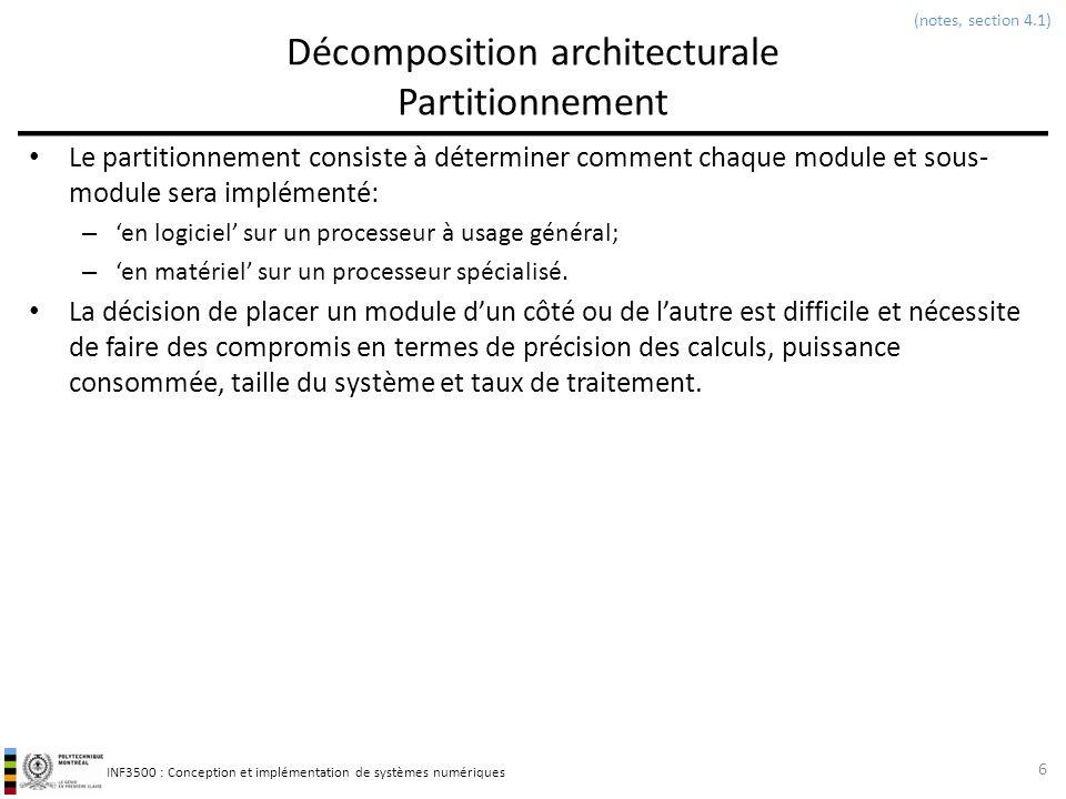 INF3500 : Conception et implémentation de systèmes numériques Décomposition architecturale Partitionnement Le partitionnement consiste à déterminer co
